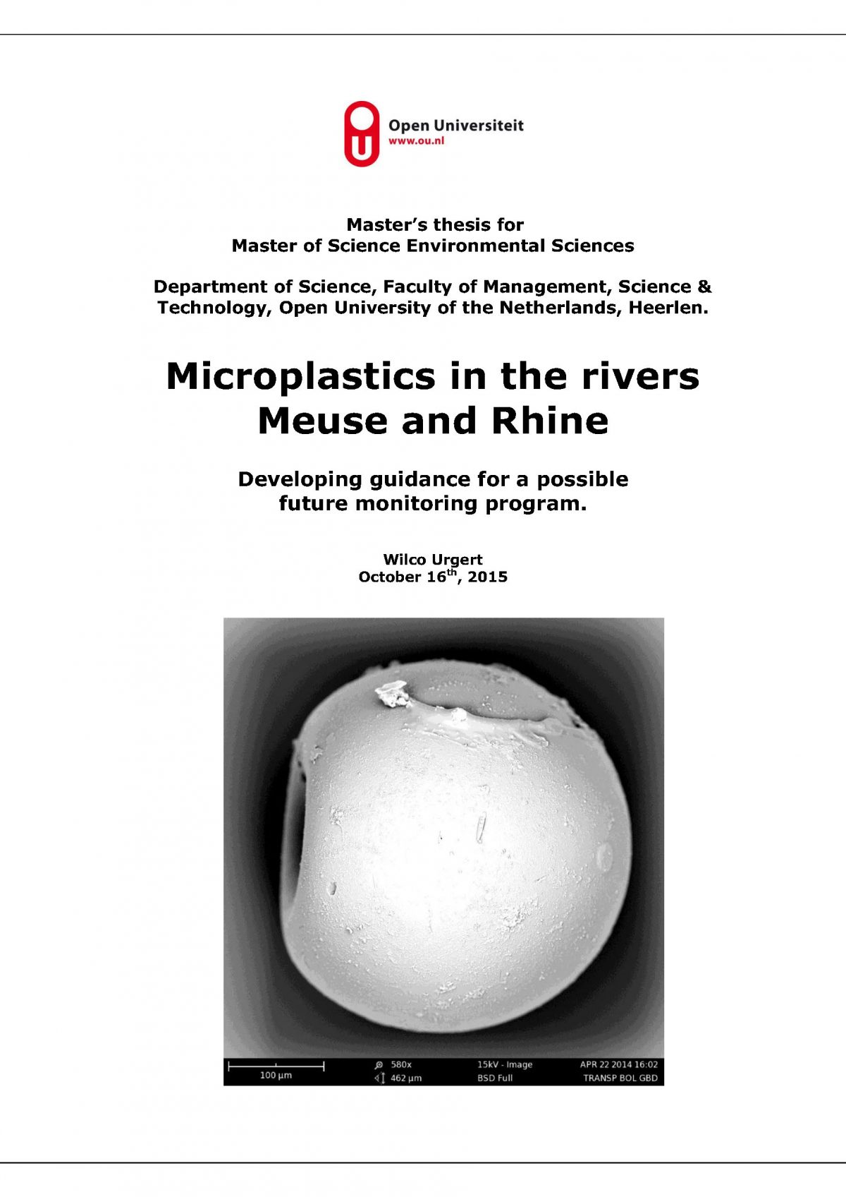 Microplastics in the rivers Meuse and Rhine