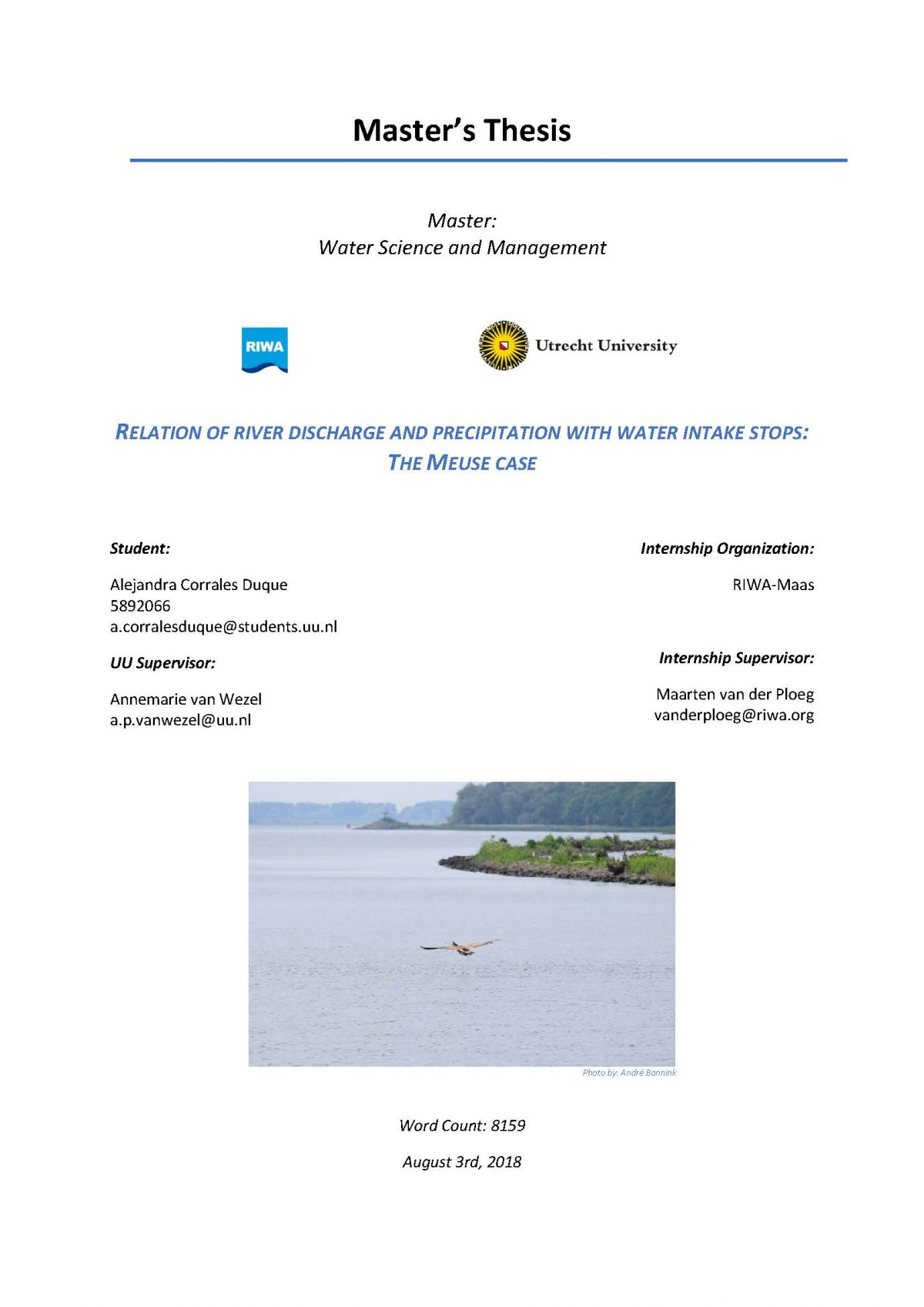 Relation of river discharge and precipitation with water intake stops: the Meuse case